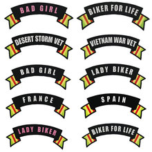 BAD GIRL LADY BIKER FOR LIFE FRANCE SPAIN Vietnam War Vet Rocker Patch Embroidered