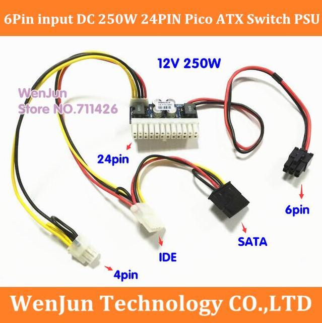 160W PCI E 6PIN 6 pin input power Supply Module 24pin mini ITX DC ...