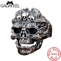 GAGAFEEL Solid 925 Sterling Silver Skull Open Rings for Men Gift Punk Fashion Skeleton Rings Vintage Thai Silver Jewelries Charm