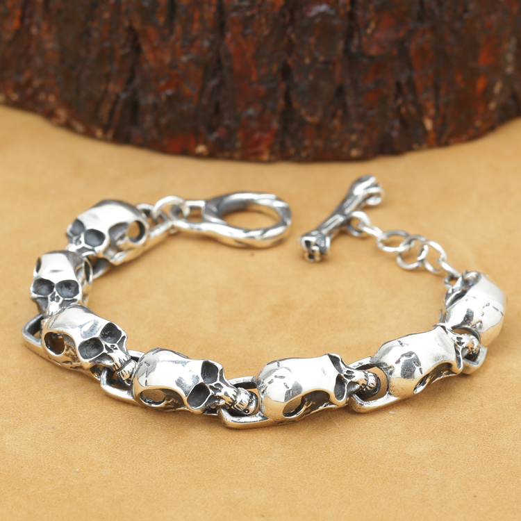 NEW! Handcrafted REAL 925 Silver Skeleton Bracelet Vintage Sterling Silver Skull Head Bracelet Pure Silver Man Bracelet цена 2017