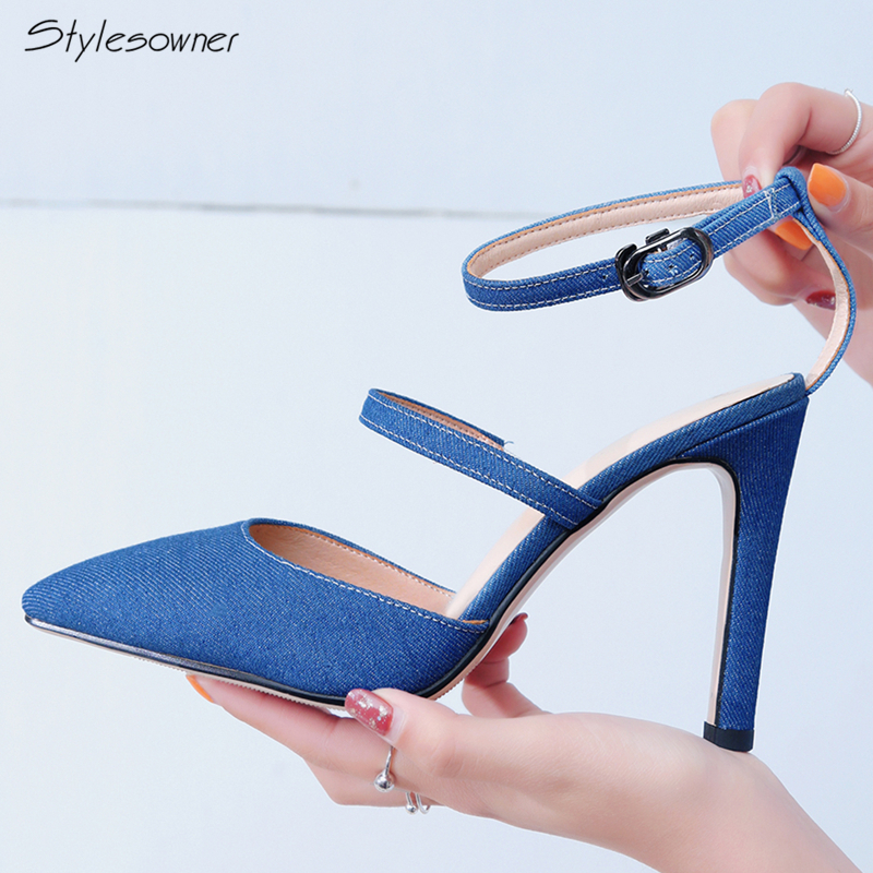 Stylesowner Gladiator Women Ankle Buckle High Heels Pumps Pointed Toe Shallow Mouth Heel Pumps Stiletto High Thin Heel New Shoes fashion women pumps gladiator peep toe women high heels shoes women casual thin heel buckle strap summer high heel pumps