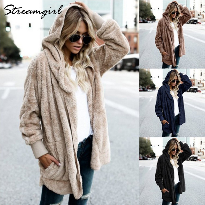 Jacket Fur Women Plus Size Womens Fur Coat Hooded Fluffy Autumn Winter Warm Outerwear Jacket With Fur For Women Solid Jackets