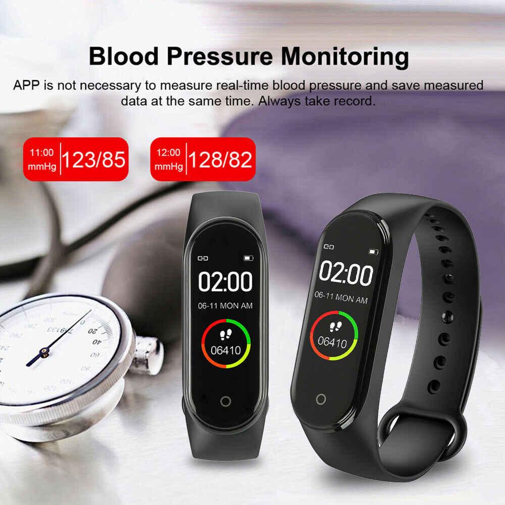 Pulsera de Fitness, presión arterial, pantalla IPS para exteriores, Monitor de ritmo cardíaco, resistente al agua, pulseras inteligentes M4