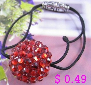 Min.order is $10 (mix order) Fashion Hair Accessaries Crystal Hair Beads Red Ball Elastic Ties Ponytail Holder  Kh047