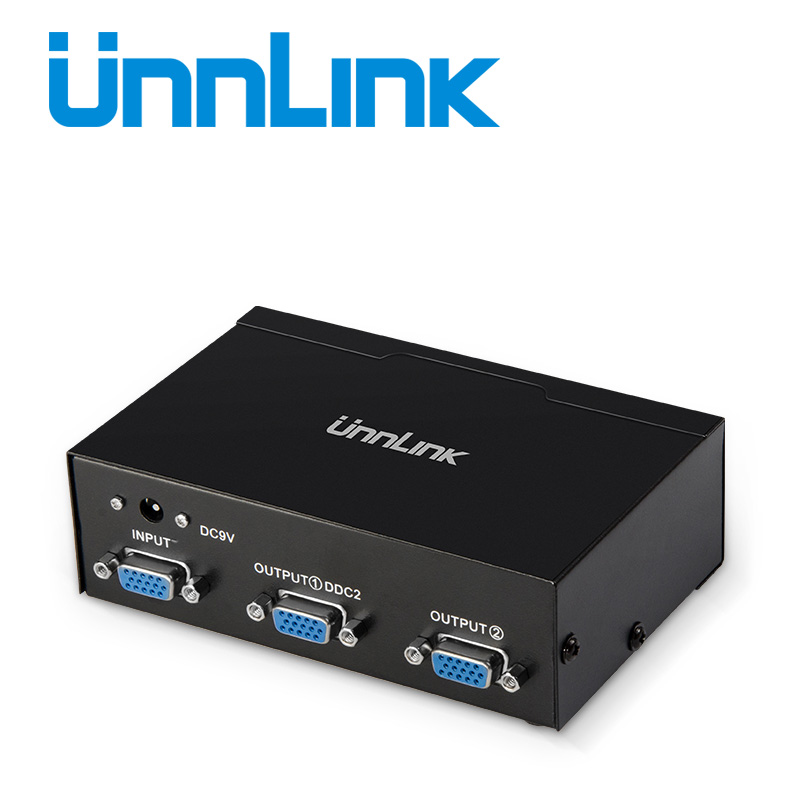 Unnlink VGA Splitter 1X2 FHD 1920X1440 1 VGA Signal Input 2 VGA Output For Computer Monitor Desktop Laptop Notebook Projector