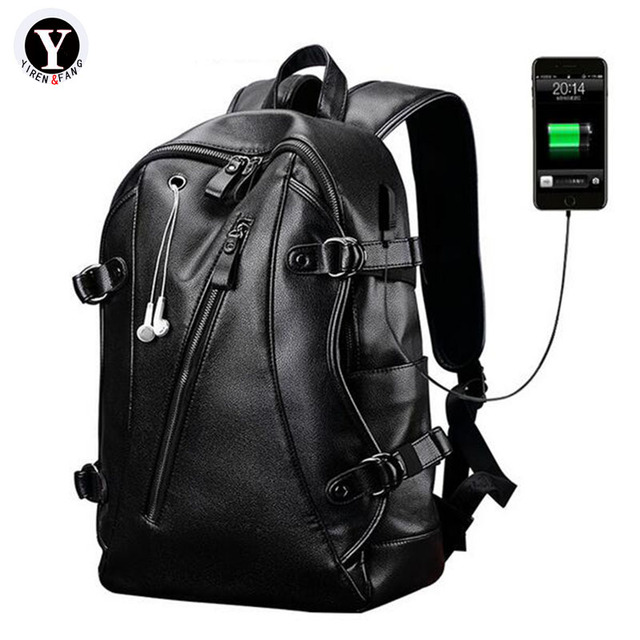Yirenfang Men Backpack 2017 Leather Famous Brands School Bags For Agers Designer Large Capacity