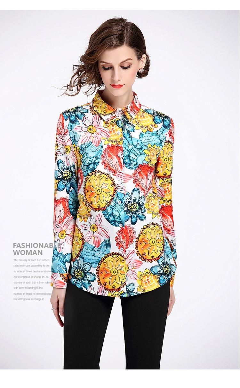 Impresión Camisas Satén Otoño Verano Imprimir 2018 Blusas Mujeres Señora Trabajo De Desgaste Oficina Satinado Oro Larga Manga wX0557q
