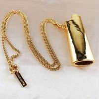 Men Gold And Titanium Lighter Pendant Chain Necklace hip hop Chunk Jewelery Colar Gargantilla Gift necklace For Love infinity