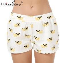 736b83794c16 Cute Sleep Bottoms Shorts Women Pug Print Elastic Waist Cotton Blend  Knitted Stretchy Loose Shorts Pajamas pyjamas S-XXL B6801