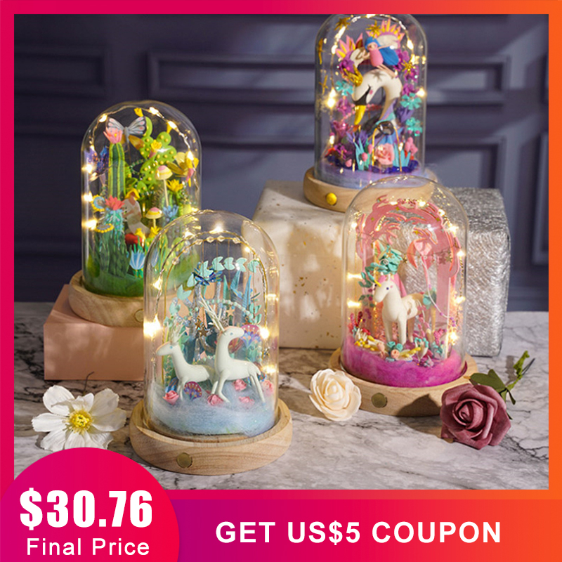 Bricolage magique argile modèle Slime Ultra-léger Sculpture pâte à modeler Fimo poupée Arts artisanat Kits avec LED verre poussière couverture jouets faits à la main