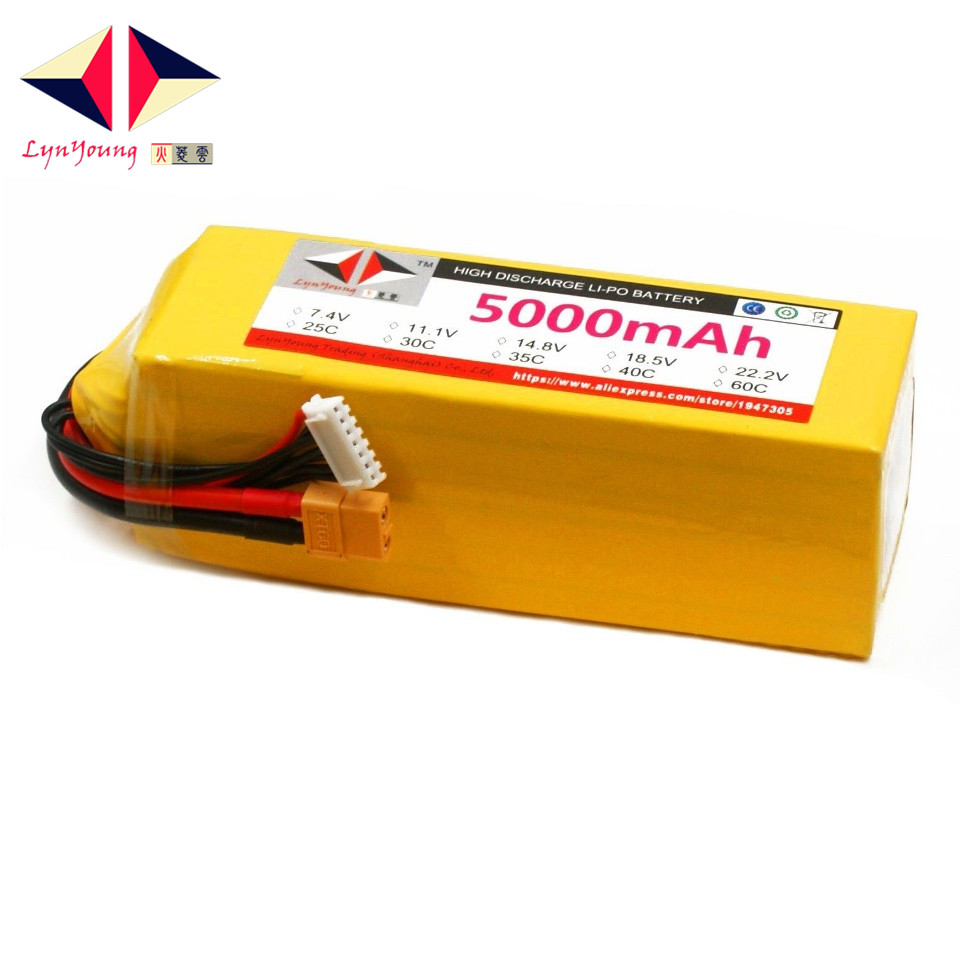 LYNYOUNG <font><b>6S</b></font> <font><b>Lipo</b></font> Battery 22.2V <font><b>5000mAh</b></font> 35C max 70c for RC truck Drone Helicopter car quadcopter part image