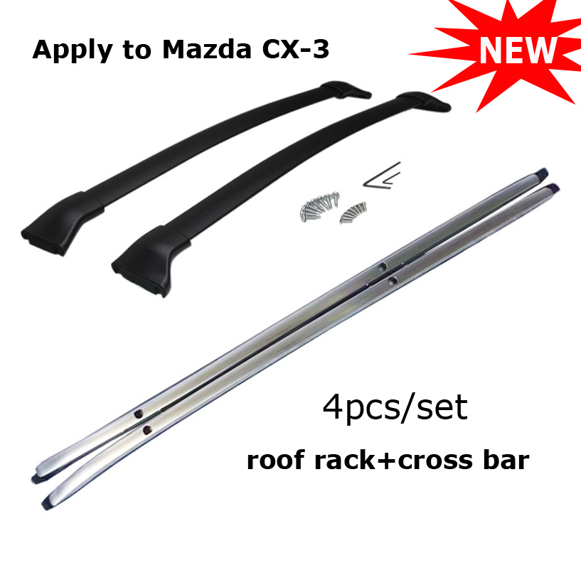 Newest cross bar&roof rack bar rail for Mazda CX-3 2017 2018,Aviation aluminum alloy,installed by screws,High quality guarantee jioyng car roof rack baggage luggage bar for 17 18 mazda cx 5 cx5 2017 2018 by ems