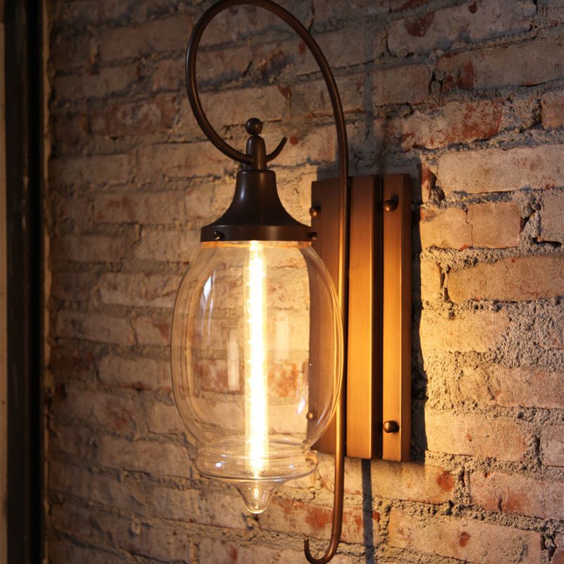 American creative outdoor waterproof wall lamp retro paint hardware clear glass E27 garden decoration LED lighting 40W bulb