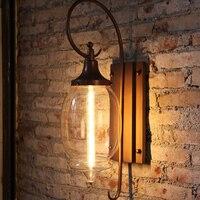 Criativo americano lâmpada de parede ao ar livre à prova d' água pintura retro hardware E27 jardim decoração CONDUZIU a iluminação 40 W lâmpada de vidro transparente