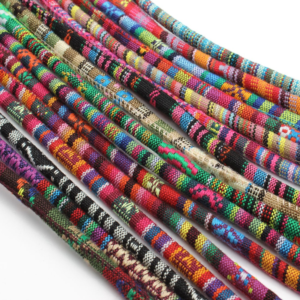5 Meter Multi Colors Cotton Cord Handmade 6mm Round Fabric Ethnic Rope Textile Wrap Embroider
