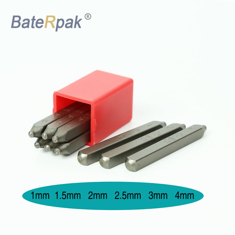 1/1.5/2/2.5/3/4 MM  BateRpak Standard Font Style Steel Punch Stamps Numbers(0-8) 9pcs/box