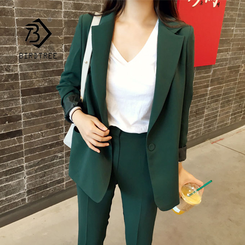 Women Pant Suits Solid Full Sleeve Single Button Blazer High Waist  Pants Office Lady Elegant Green Black 2 Piece Set S94001F