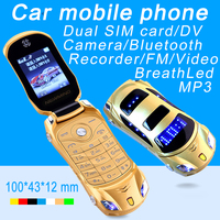 2015 Unlocked Turkish Arabic Greek Dutch Hindi Russian Flashlight GPRS Dual Sim Super Car Model Mini