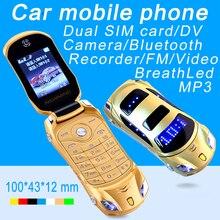 Newmind F15 flip lampe de poche unlocked dual sim cartes mp3 mp4 super petit téléphone portable modèle de voiture mini mobile cellulaire téléphone P431