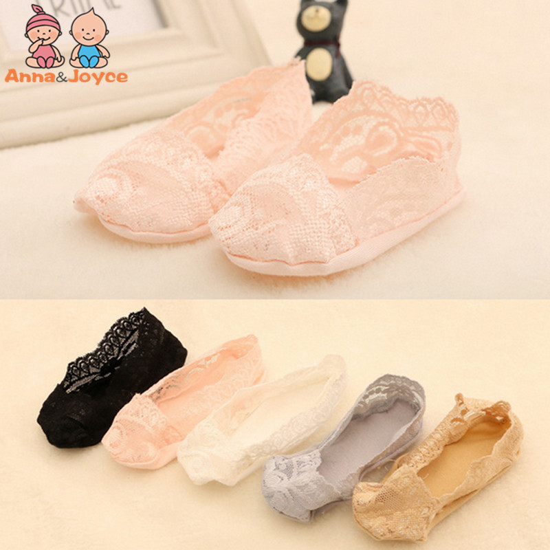 5pairs/lot  Baby Girl Lace Socks Shallow Mouth Invisible Traceless Elastic Boat Focks Feet Slip Silicone 1-3 Years