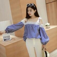 2016 New Fashion boat neck shirt women loose plaid Tops female long Lantern sleeve Blouse lady Spring Autumn Sling shirt LX6166