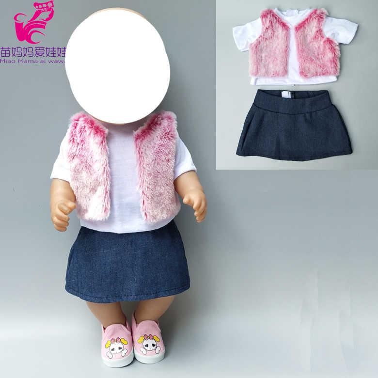 Комплект кукольной одежды для детей 18 дюймов; Одежда для новорожденных; шерстяная жилетка; рубашка; джинсовое платье; зимняя одежда 18-дюймовая кукла