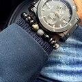 2017 New Men Bracelet 8mm Natural Agate Stone Beads Bracelets For Men Retro Color Vintage Style Elastic Bracelet