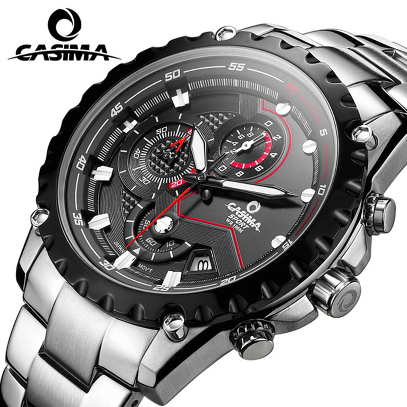 CASIMA fashion Casual business mens watch sports watches steel quartz Wristwatches for men waterproof 100M relogio masculino