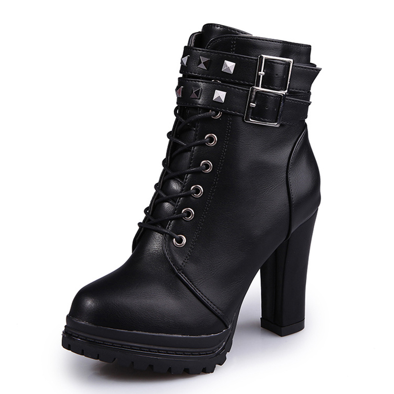 MCCKLE Spring Women Ankle Boots Platform High Heel Shoes Ladies Lace Up Rivet Buckle Strap Short Boots Casual Female FootwearMCCKLE Spring Women Ankle Boots Platform High Heel Shoes Ladies Lace Up Rivet Buckle Strap Short Boots Casual Female Footwear