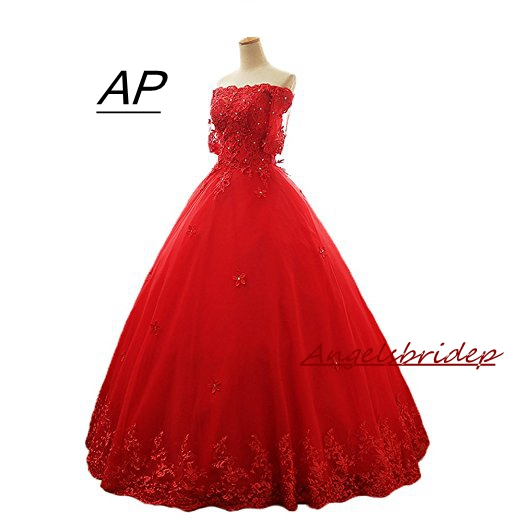 b602c854145 ANGELSBRIDEP Vestido De Noiva Boat Neck Half Sleeves Long Quinceanera Dress  2019 Sexy Red Tulle Sweet