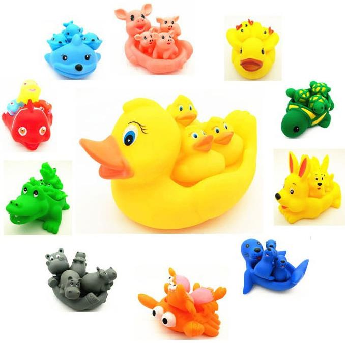 4pcs/lot  Animals Swimming Water Toys Colorful Soft Floating Rubber Duck Squeeze Sound Squeaky Bathing Toy For Baby Bath Toys
