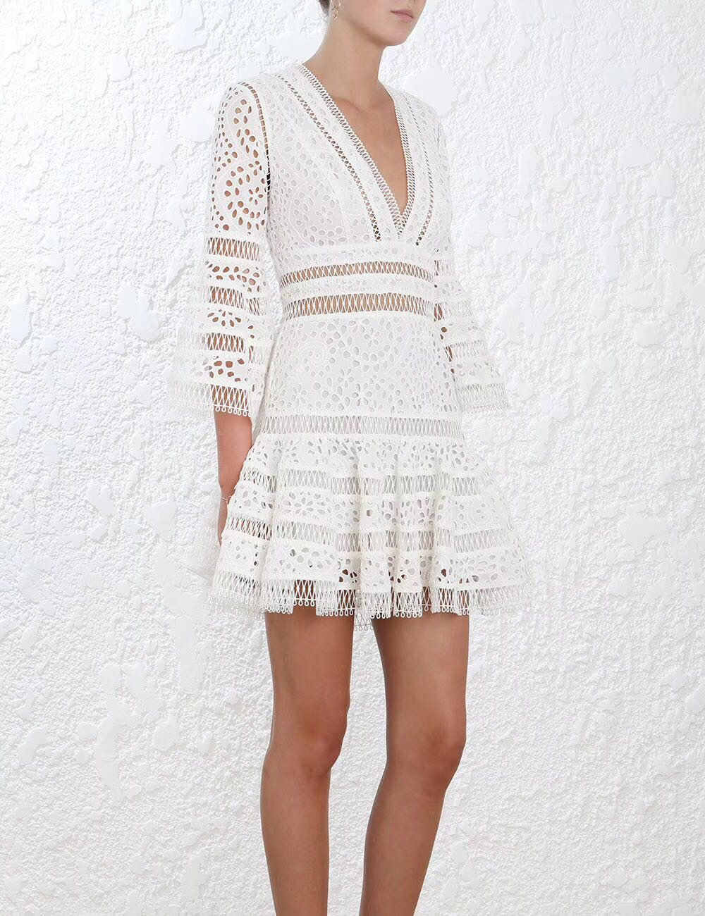 Women V neckline Nipped in Waist Fared Skirt Lovelorn Flutter Cotton broderie Anglaise Mini Dress A line Floral Lace Mini Dress