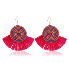L&H Handmade Tassel Earrings 2018 New Bohemia Round Lafite Long Drop Earrings For Women Charm Statement Fashion Pendant Jewelry 2018 summer new india golden jhumki earrings bohemia blue tassel earrings hippy charm fake beach travel jewelry