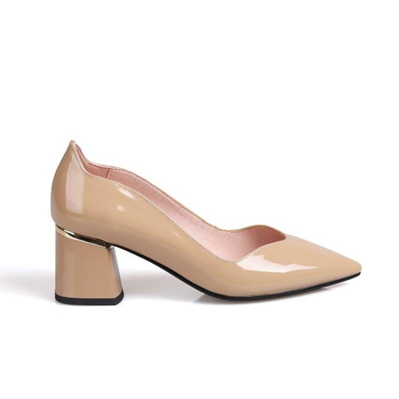 Femmes Cuir Bout Lady Apricot Pompes Flambant Pointu Élégant Office Talons Véritable Chaussures De 2019 Karinluna En Style Neuf Épais Chic kuPOZiXT
