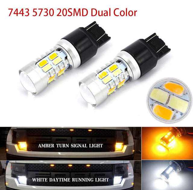 2x7440 20smd 5730 t20 led verlichting auto dual color switchback reverse richtingaanwijzer