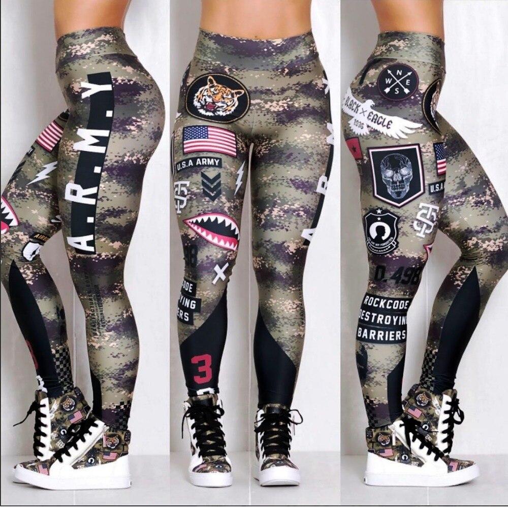 Las mujeres del ejército polainas elástica alta cintura chicas Leggins mundial envío Leggings