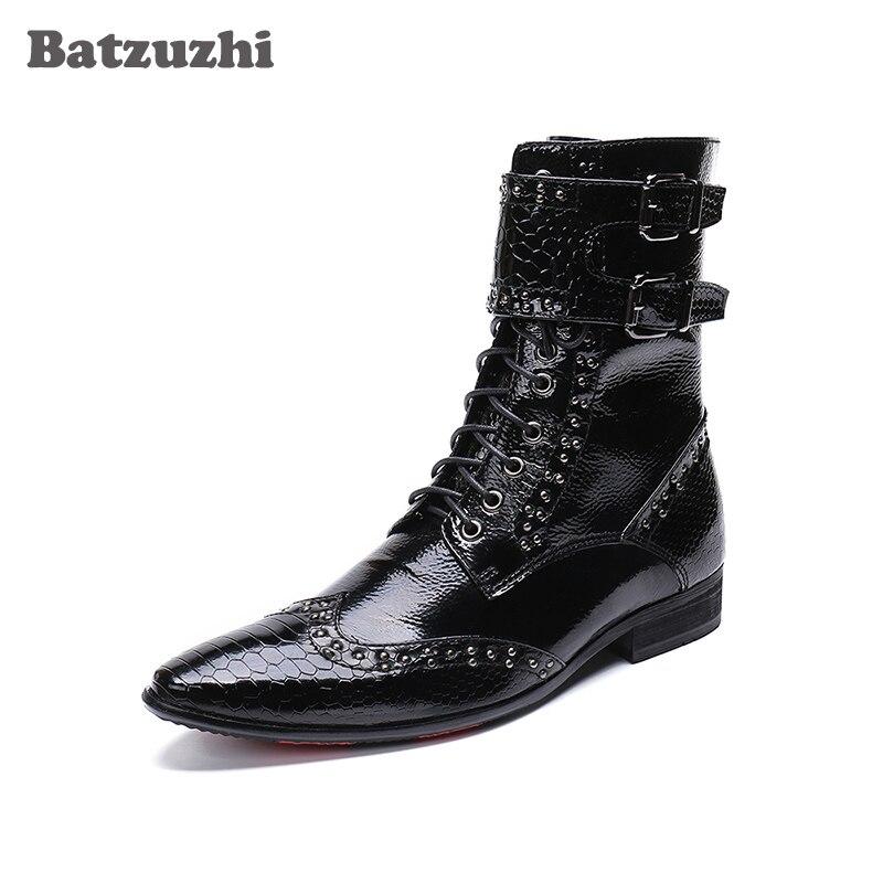 Militar Batzuzhi Hebillas Coreano Botas Hombres Negro Hombre Moda Señaló Botines Cuero De Us6 Vestido 12 Grande W7wYU71rq