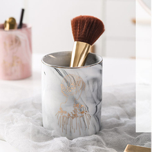 1pc Ceramic Pen Holder Marble Texture Pencil Cup Pot Desk Organizer Makeup Brush LBShipping