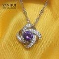 Уникальный Дар любви Круглый Purple CZ Алмазный Кулон Ожерелье 100% Стерлингового Серебра 925 Ожерелье Для Женщин BKN060