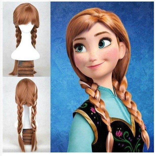 70cm Adult Frozen Snow Wig Elsa Anna Wig Long Weaving Braid Costume Cosplay Wig