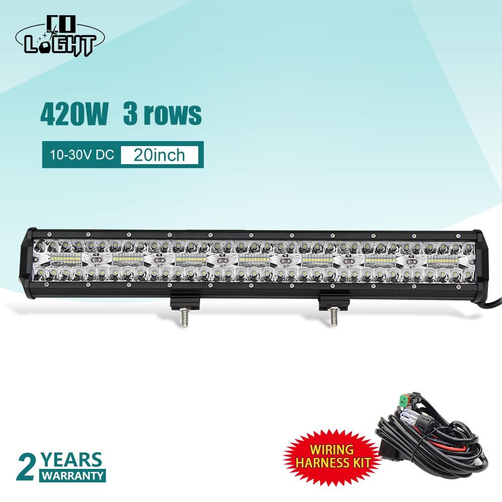 CO LIGHT 420W 20 3 Row LED Work Lights Flood Spot Beam Led Bar Auto Offroad