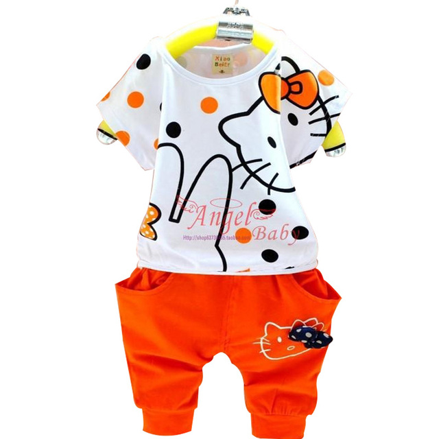 2015 new 2-7years children's clothing set hello kitty pattern girls 1 sets 100% cotton summer girls clothing sets kids clothes