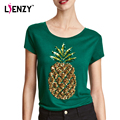 LIENZY Summer Style  Pineapple T Shirts Sequin Green O Neck Ladies T Shirt Women Tops