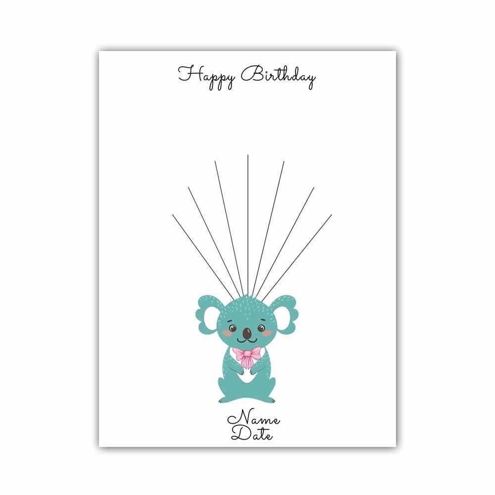 Милый коала, персонализированные пользовательские имя, дата холст отпечаток пальцев подпись DIY Гостевая книга для подарков для будущей матери для крещения ребенка, детям, подарок на день рождения
