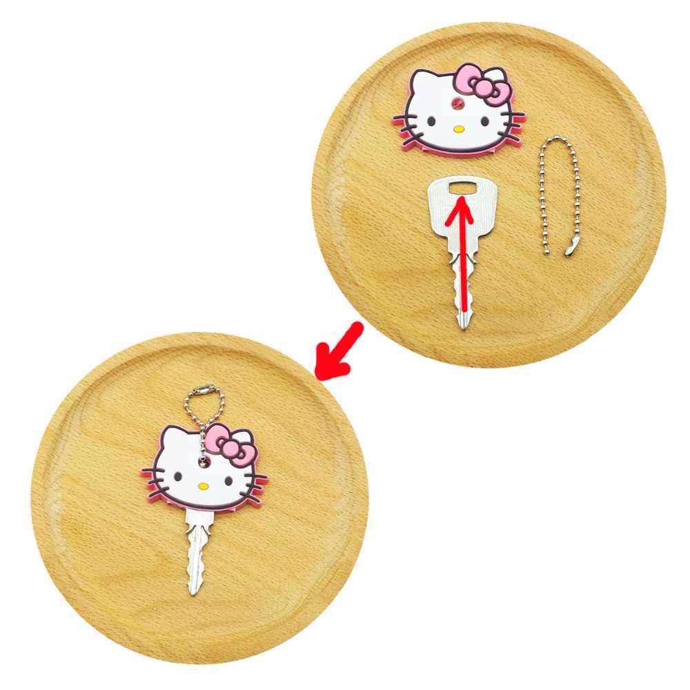 2 PCS UM CONJUNTO minne Dos Desenhos Animados Anime ponto Tampa Chave Chaveiro Silicone Bonito Olá Kitty criança porte clave Chave cap para as mulheres