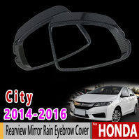 for Honda City GM6 Grace Ballade 2014 2015 2016 2017 2018 Carbon Fiber Rearview Mirror Rain Eyebrow Cover Accessories Sticker