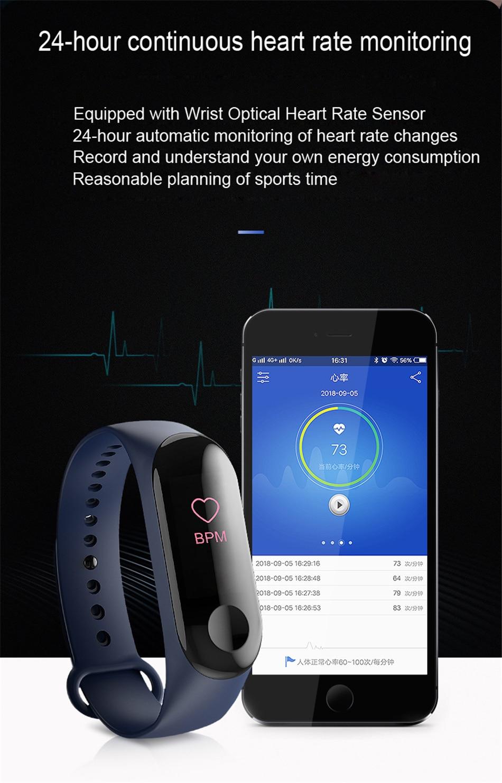 HTB1rs0JaEY1gK0jSZFCq6AwqXXa4 M3 Smart Band Fitness Tracker Smart Bracelet Heart Rate Monitor Watches Waterproof Sport Wristband For Men Women Smartband