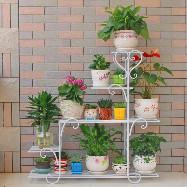 95*88*25cm European Balcony And Indoor Flower Pot Holder Garden Flower  Stand Iron
