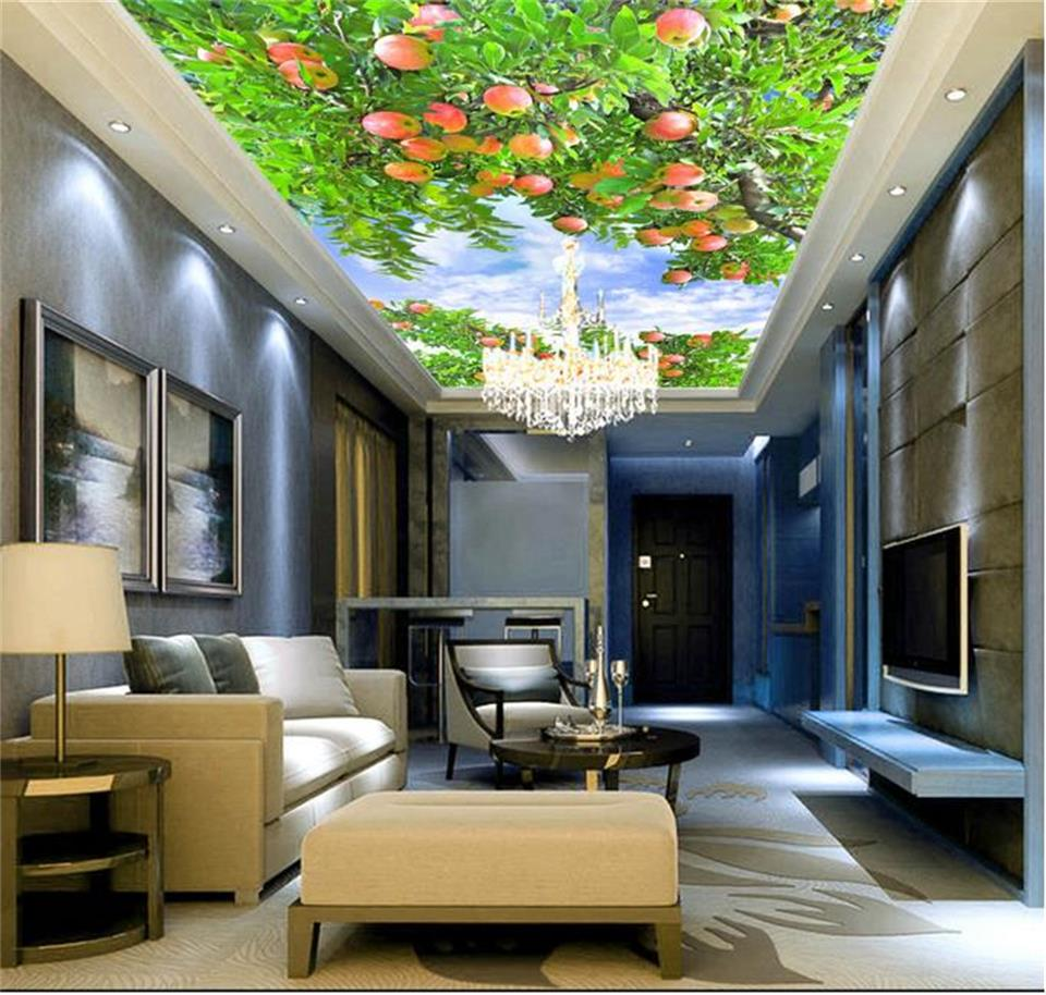 3d ceiling murals wallpaper custom photo non-woven Fruitful apple decoration painting 3d wall mural wallpaper for living room 3d ceiling murals wallpaper custom photo non woven sky dandelion dove leaves painting 3d wall mural wallpaper for living room