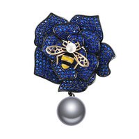 Micro Paved AAA Cubic Zirconia Bee Flower Brooch Women Luxury Elegant Collar Badge Chain Broach Jewelry Clothes Accessories